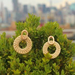 New Handmade Earrings Raffia bamboo wood Round